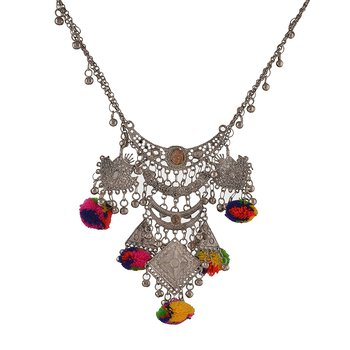 German Silver Pom Pom Banjara Necklace