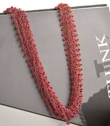 Buy Pink Beaded Multistrand Necklace Necklace online