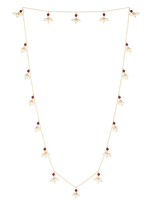 Red Onyx Gemstone Pearl Chain Necklace