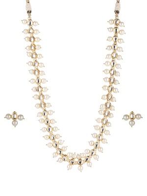 Kundan Teardrop And Pearl Necklace Set