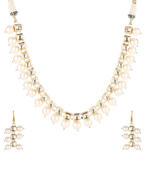 Kundan Square And Pearl Necklace Set