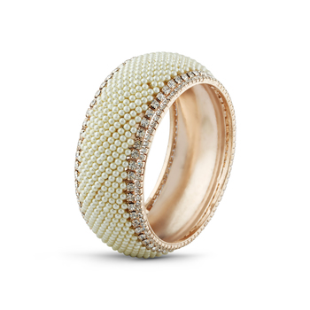 Class Design Rose Gold Finish Pearl With Stone Bangle