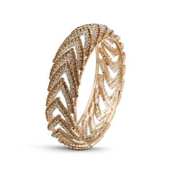 Fashionable Desginer Lct With White Stone Rose Gold Finish Bangle