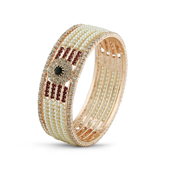 Indian Women Traditional Desginer Pearl With Maroon Green Stone Bangle
