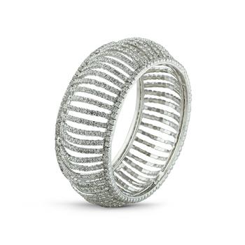 Fashionable Desginer White Stone Rhodium Bangle