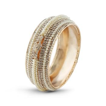 Gracefull Rose Gold Finishing Pearl & Stone Wedding Bangle
