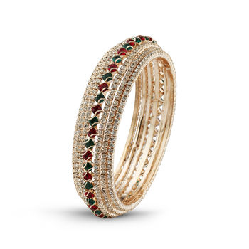 Rose Gold Finishing Indian Jewellery Maroon & Green Stone Bangle