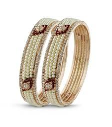 Rose Gold Finishing Indian Jewellery Maroon Stone Bangle
