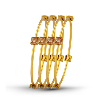 Ethnic Gold Plated Stone 4 Pcs Bangle