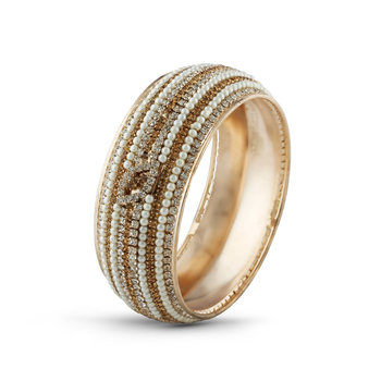 Indian Traditional White Pearl With Lct Stone Rose Gold Finishing Bangle