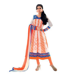 Buy Hypnotex Orange Off White Cotton Dress Material Tina7908 dress-material online
