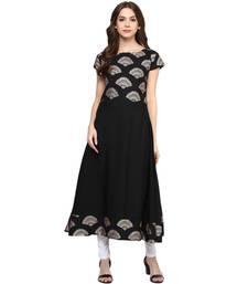 Buy black printed crepe stitched kurti ethnic-kurti online