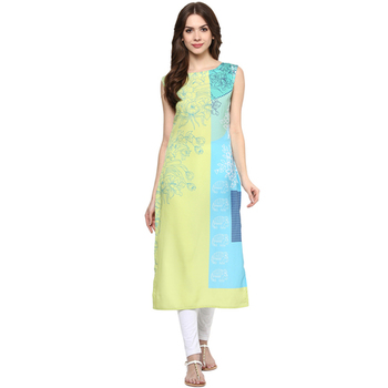 multicolor printed crepe stitched kurti