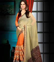 Buy Multicolor embroidered georgette saree with blouse one-minute-saree online