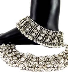 Bollywood style kundan silver plated bridal anklet