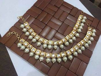 Kundan And Pearls Heavy Anklets