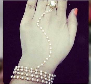 Kundan And Pearls Ring Hathphool