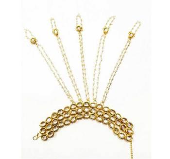 Kundan And Pearls 5 Ring Bracelet Hathphool