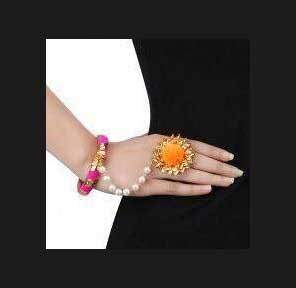 Pink And Orange Gota And Pom Pom Hathphool