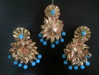 Turquoise Gota Jewellery Set