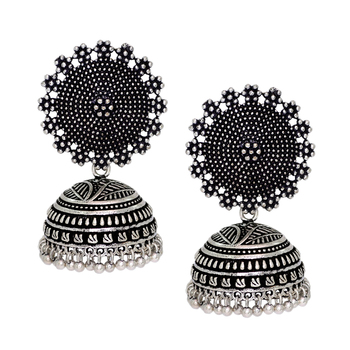 6831566d3703f Black metal oxidised silver plated jhumka jhumki earrings for women & girls