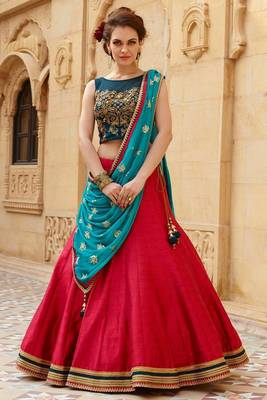 red hand embroidery viscose semi stitched lehenga with choli (PREMIUM QUALITY )