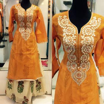 9466aa8f83 Dark yellow silk gota patti work free size semi stitched skirt suit kamiz -  bluebell closet - 1444656