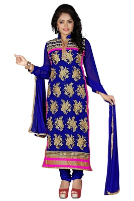Blue embroidered georgette unstitched salwar with dupatta