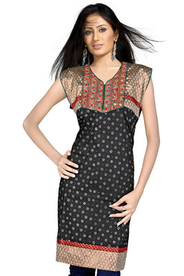 Designer Embroidered Fancy Black Cotton Kurti