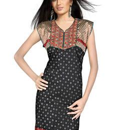 Designer Embroidered Fancy Black Cotton Kurti 131