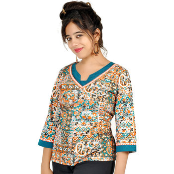 Jaipuri Designer Fancy Cream Fine Cotton Kurti