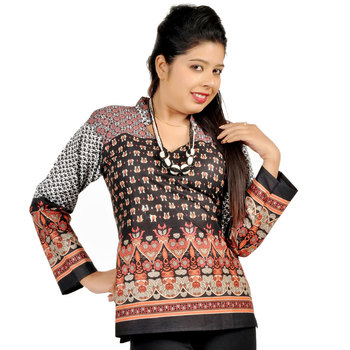 Jaipuri Designer Multi Print Black Cotton Top