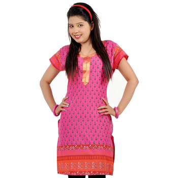 Bootie Design Zari Lace Pink Pure Cotton Kurti 169