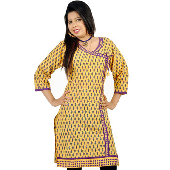 Ethnic Girls Designer Lace Yellow Cotton Kurti 173