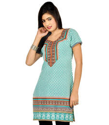 Hot Designer Girls Sea Green Pure Cotton Kurti 174