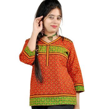 Hand Block Print Ethnic Red Black Cotton Top 181