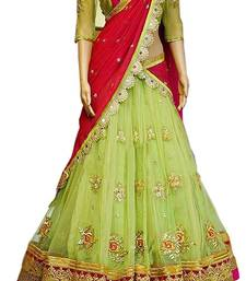 Buy Pink and green Embroidered design Free size semi-stitched lehenga choli with duptta lehenga-saree online