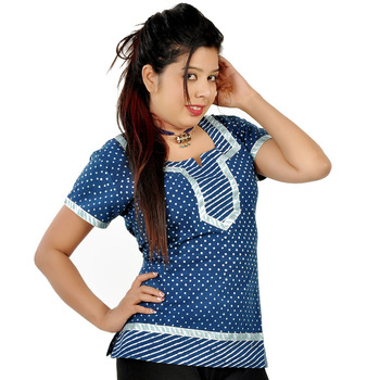 Designer Silver Block Print Blue Cotton Top 188
