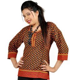 Jaipuri Print Designer Red Black Cotton Kurti 191