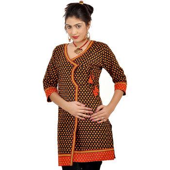 Designer Jaipuri Print Red Black Cotton Kurti 192