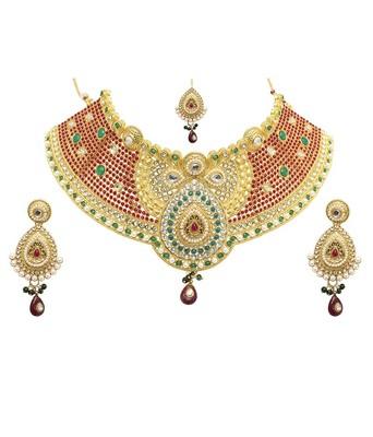 golden copper stone necklace set