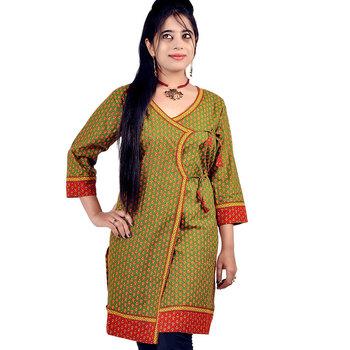 Designer Bootie Print Indian Green Cotton Top