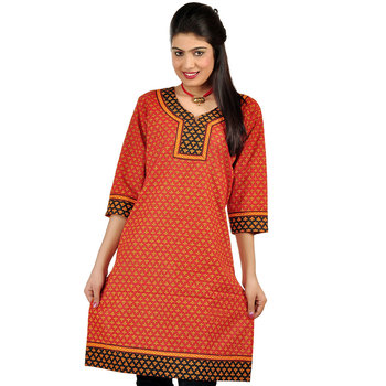 Ethnic Girls Hand Block Print Red Cotton Kurti