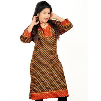 Rajasthani Hand Block Print Red Cotton Kurti