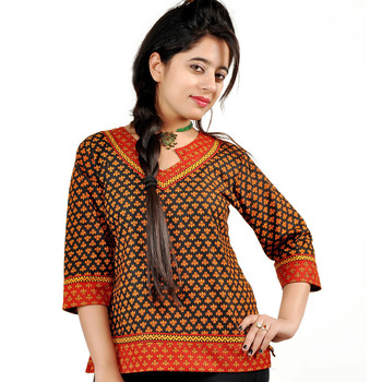 Ethnic Hand Block Print Red Black Cotton Top 203
