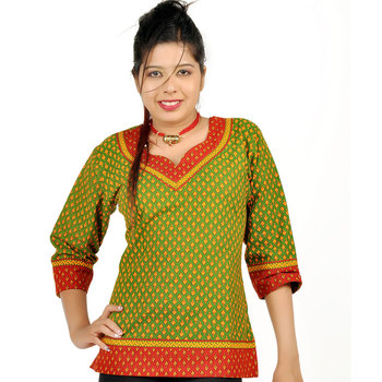 Jaipuri Designer Leaf Print Green Cotton Top 204