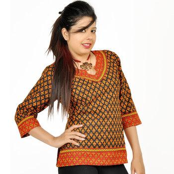 Rajasthani Block Print Red Black Cotton Top 206