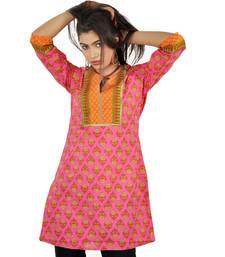 Jaipuri HandBlock Flower Print Pink Cotton Top 502