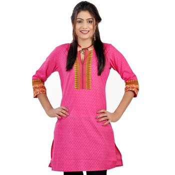 Exclusive Designer Printed Pink Cotton Kurti