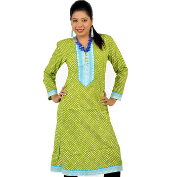 Exclusive Designer Lehriya Ethnic Cotton Kurti